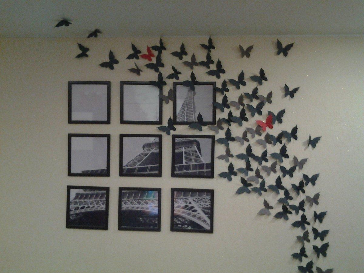 Как закрепить из бумаги бабочки на стену