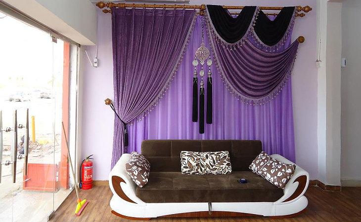 Фиолетовые шторы фото в интерьере