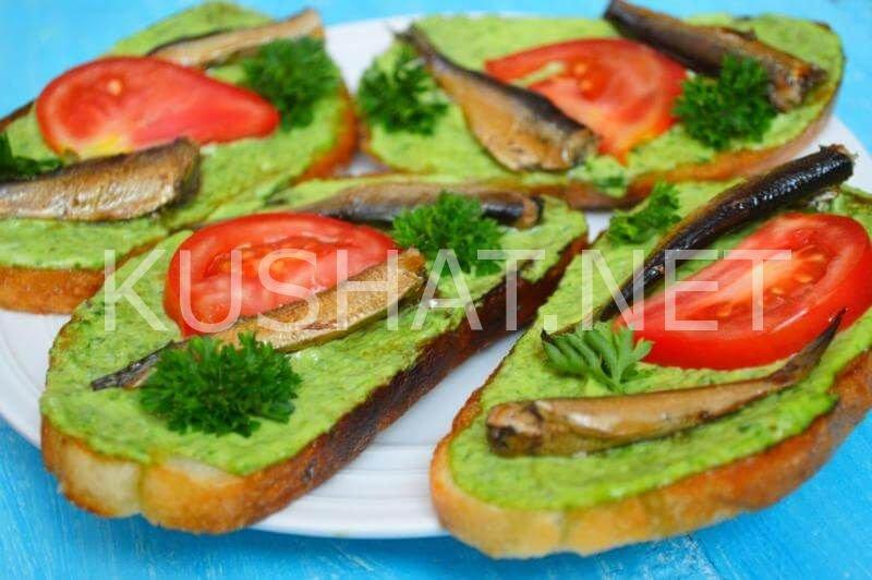 Бутерброды со шпротами с пошагово