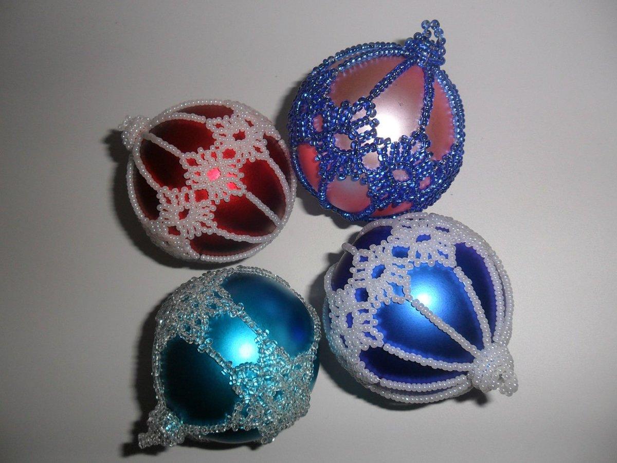Елочный шарик с бисером своими руками