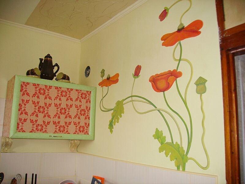 Роспись стен в кухне своими руками 80