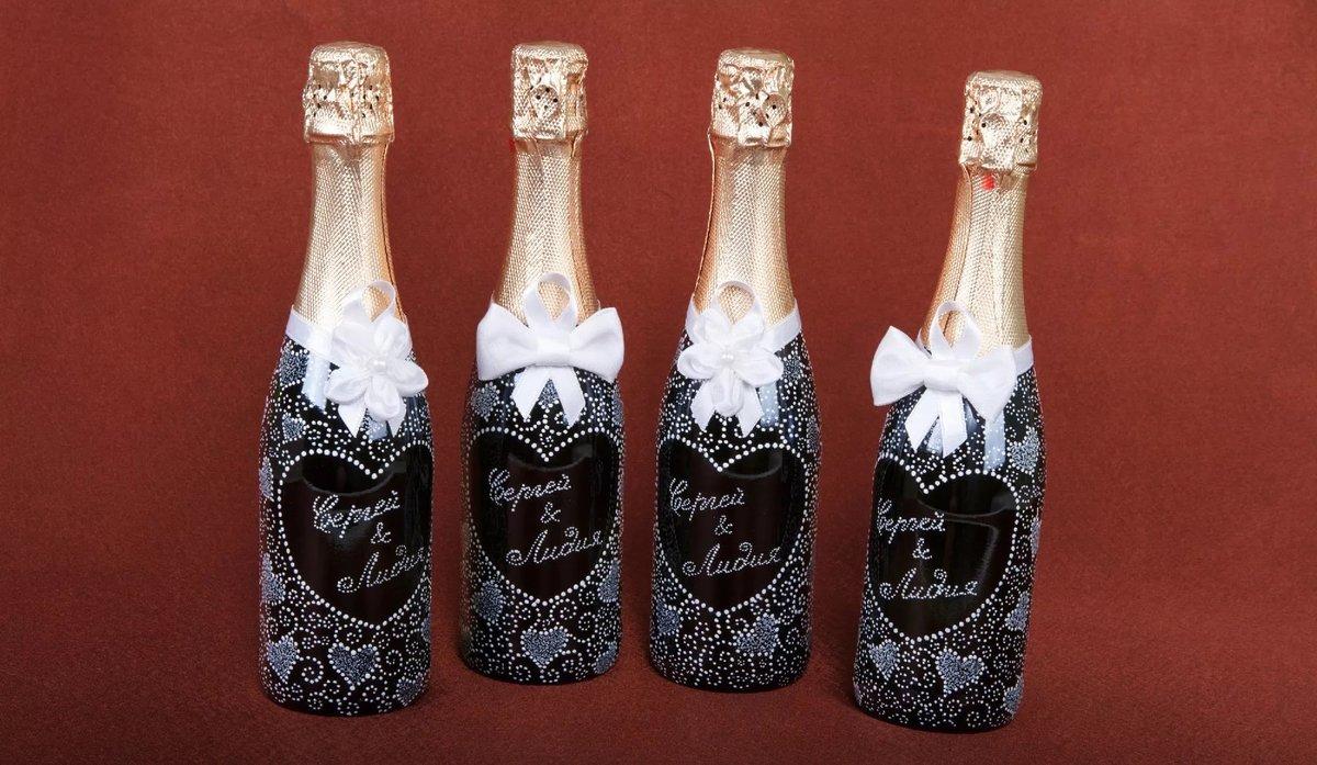 Украсить бутылки шампанского на свадьбу декупаж