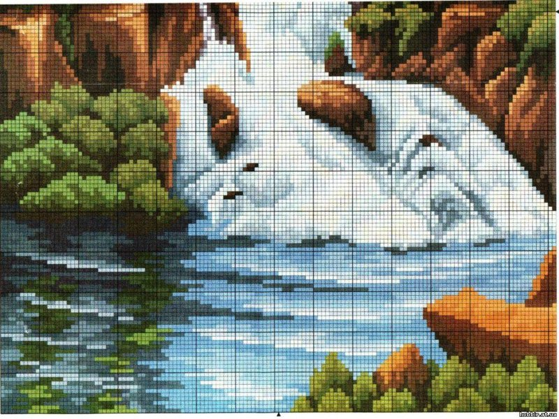 Водопад схема для вышивки крестом