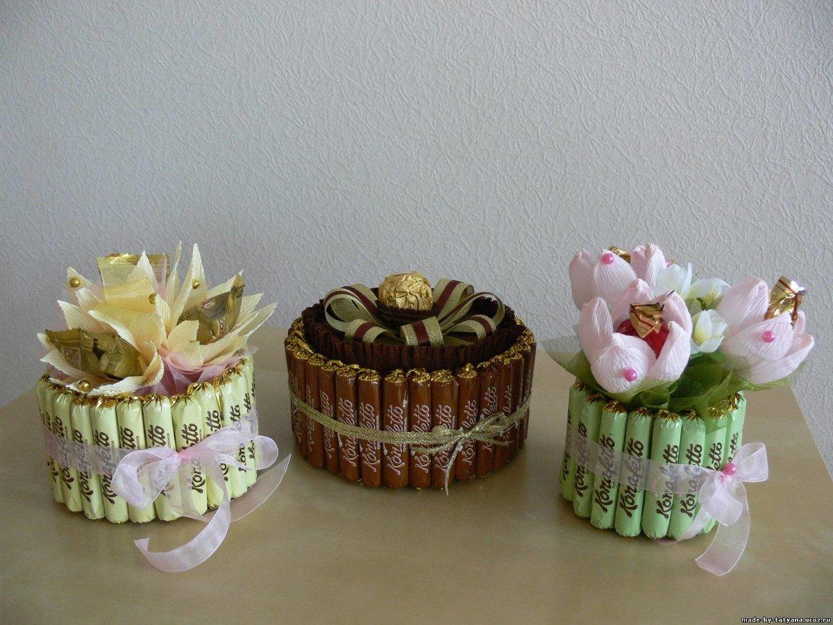 Букеты из конфет для подарка своими руками 9