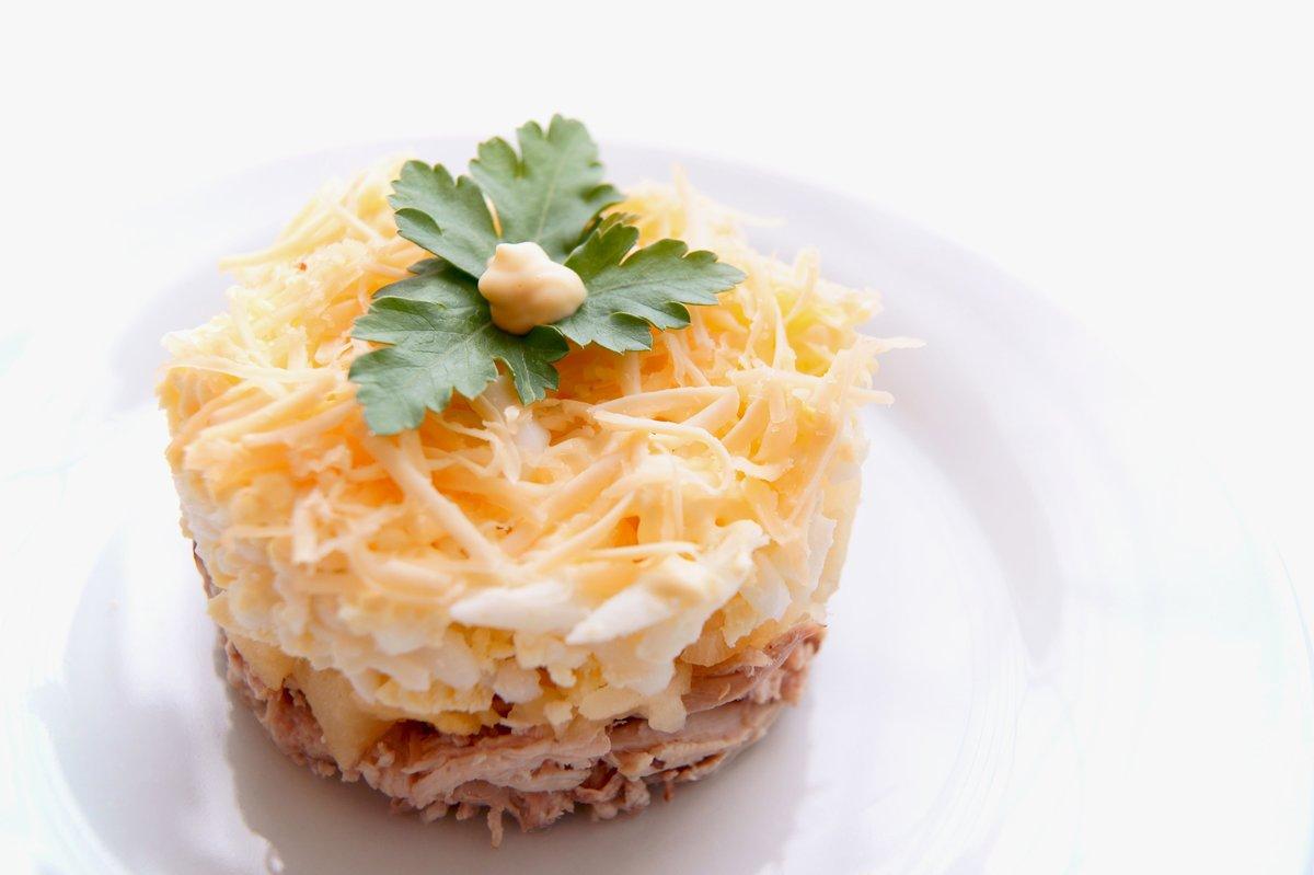 Салат с ананасами грибами и курицей слоями рецепт пошагово