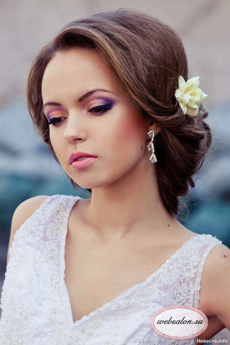 Свадебные прически для круглого типа лица фото
