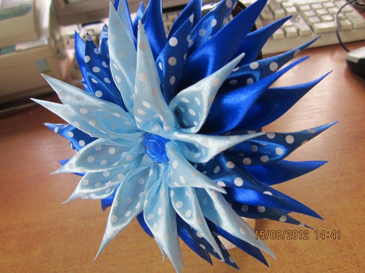 Цветы георгины из лент своими руками с пошаговым