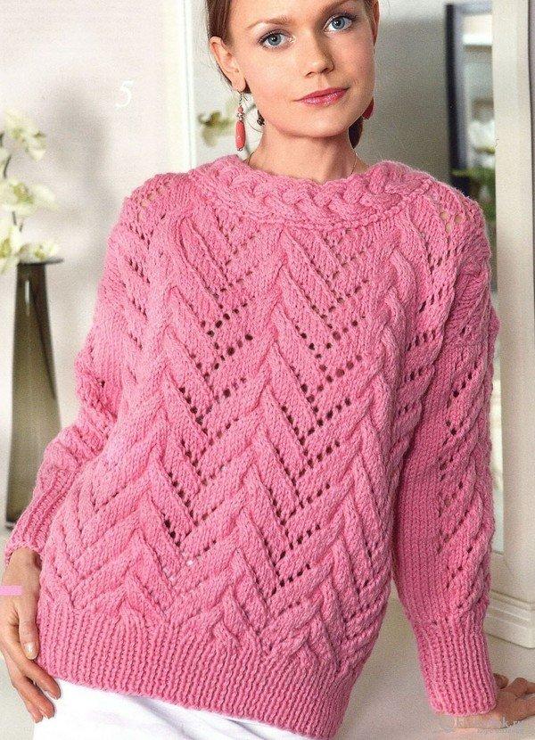 Вязание женского свитера спицами 6