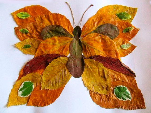Бабочка своими руками из листьев