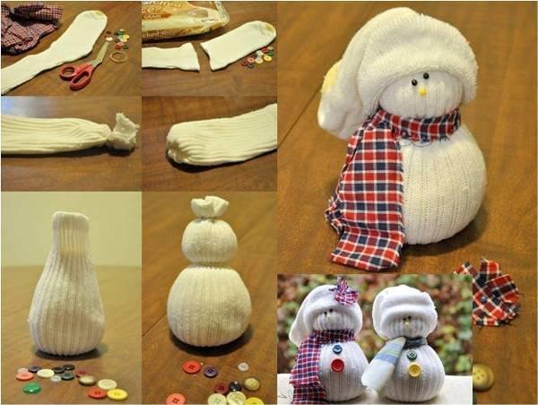 Сделать снеговика своими руками из носка и риса