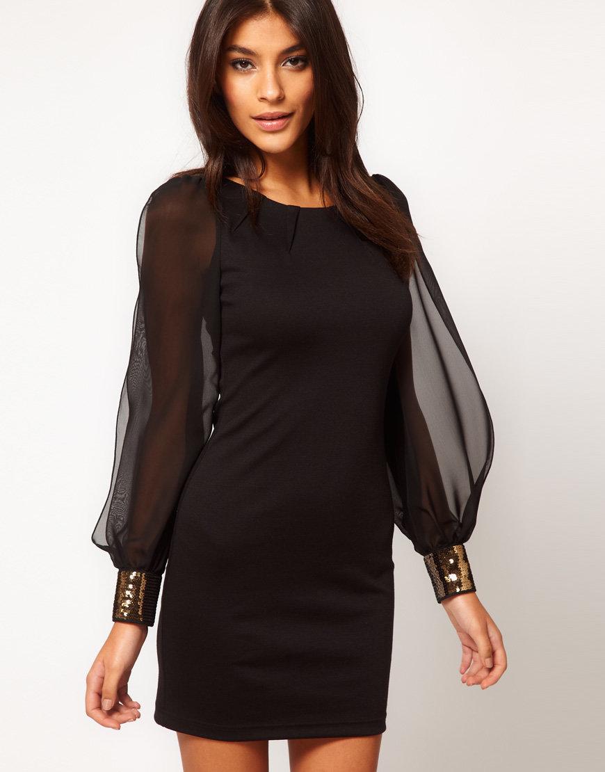 Платье черное платье с рукавами из кружева