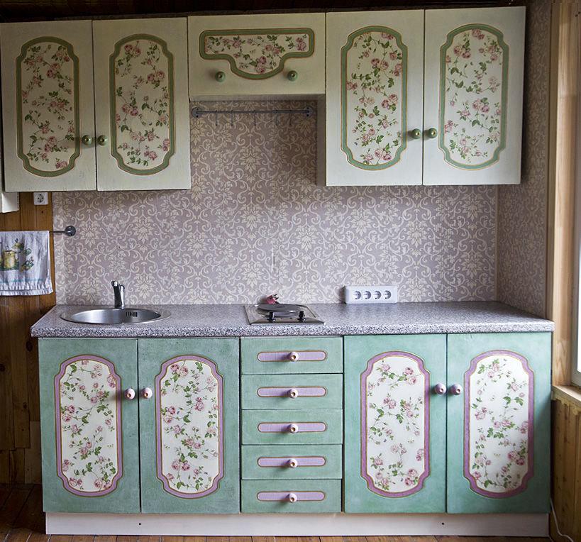 Декорирование старого кухонного гарнитура своими руками 11