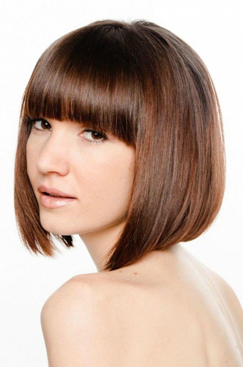 Модные стрижки каре на средние волосы с челкой