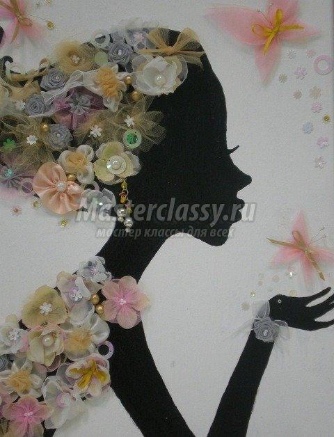 Цветы из ткани на картинах своими руками