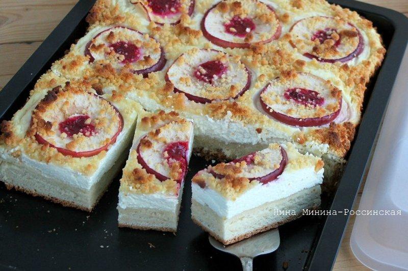 Дрожжевой пирог с творогом и яблоками в духовке рецепт