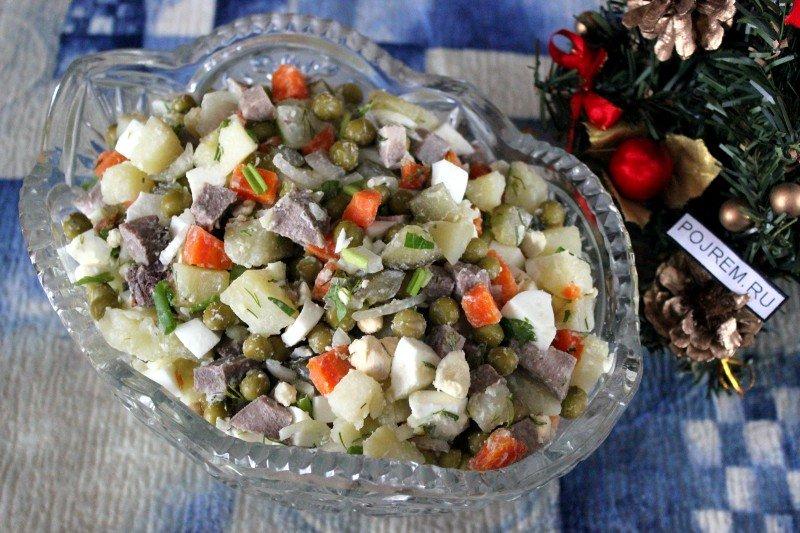 Оливье с свиным языком салат рецепт