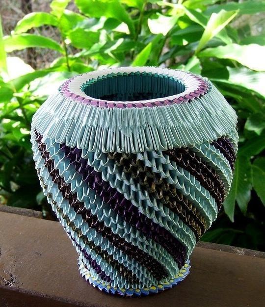 Большая напольная ваза своими руками из модулей 9