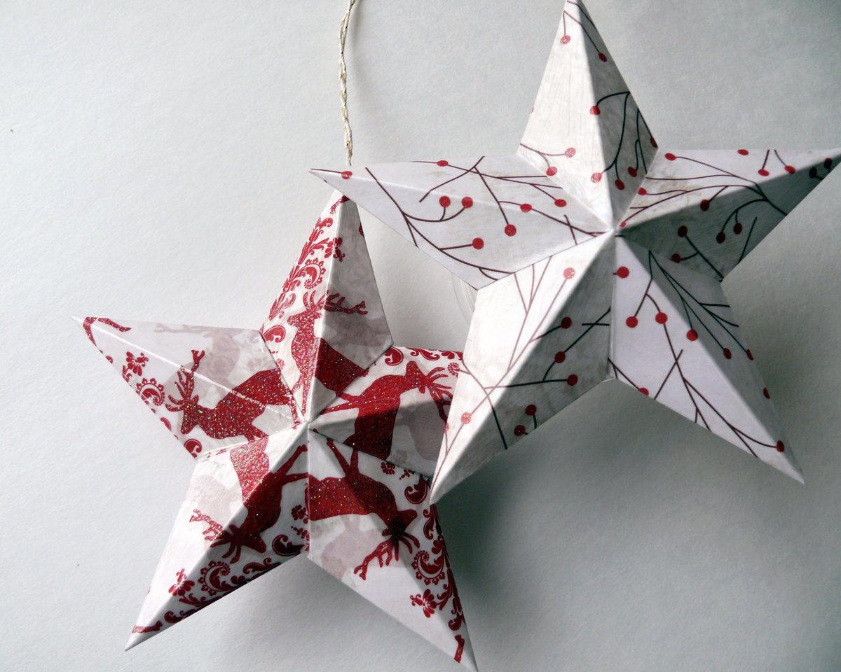 Объемная звезда из бумаги своими руками шаблон