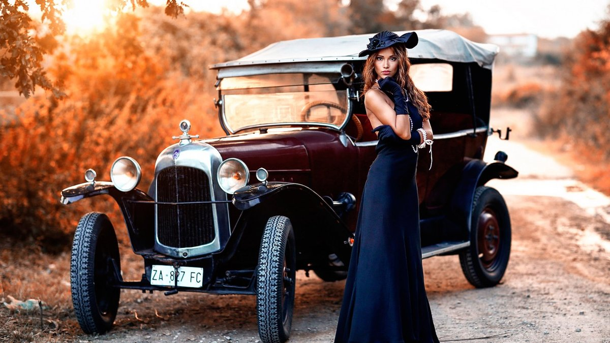 Красивые фото ретро авто с девушками