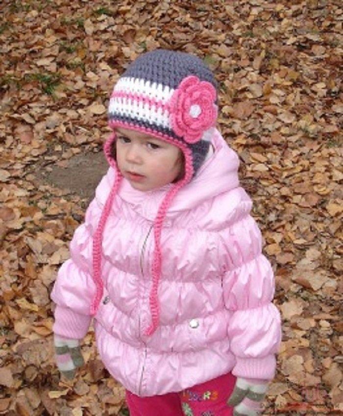Вязание осенних шапочек для девочек 90