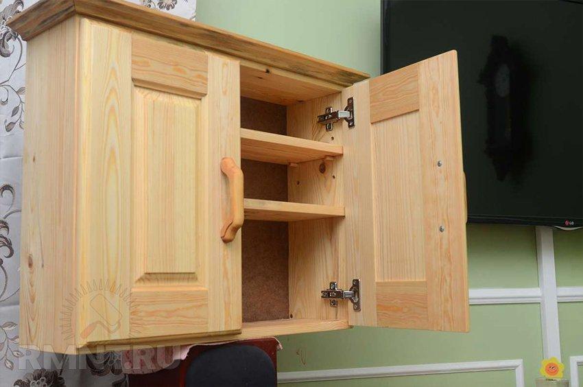 Навесной шкаф из дерева своими руками 65