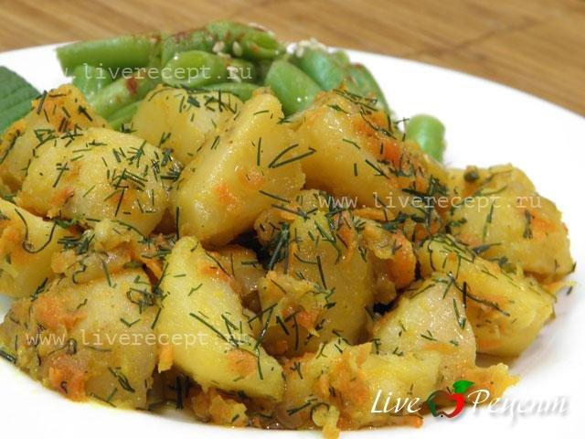 Тушёный картофель рецепт с пошагово в