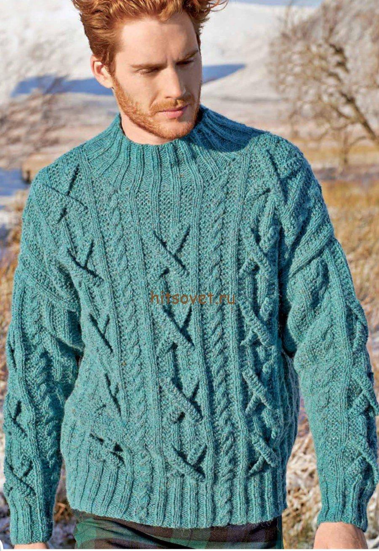 Вязание мужских пуловеров из кос