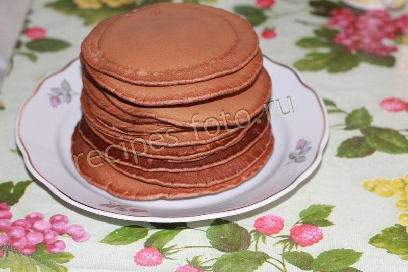Рецепт шоколадных панкейков на молоке с пошагово