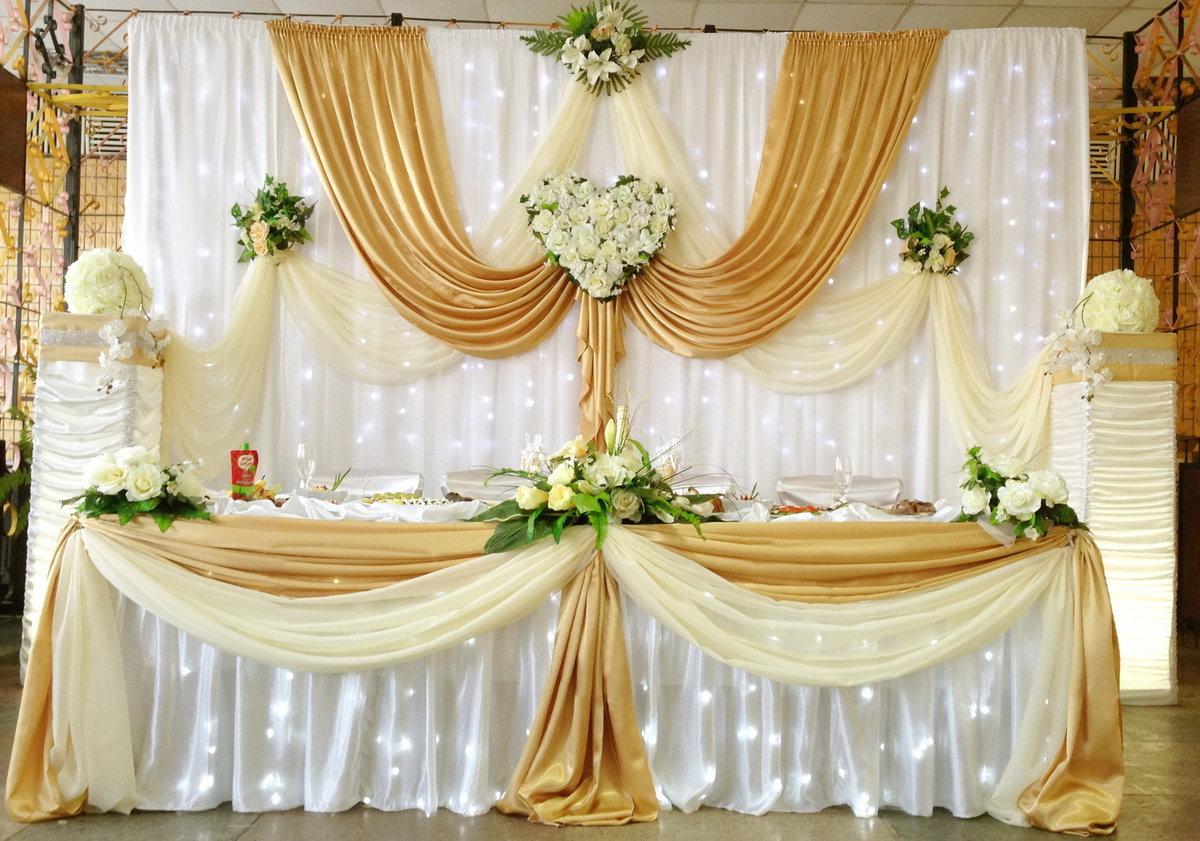 Золотистое оформление на свадьбу