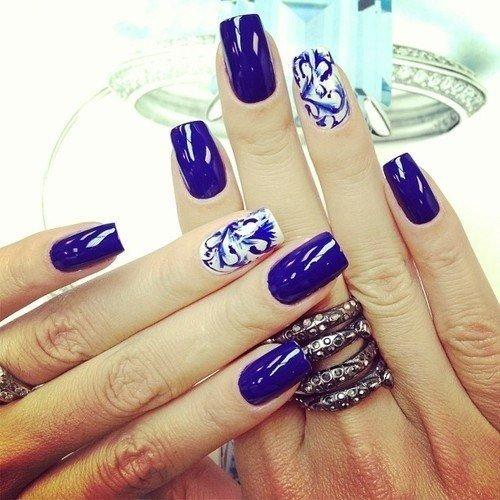 Ногти в синих тонах