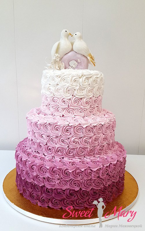 Кремовые торты для свадьбы фото