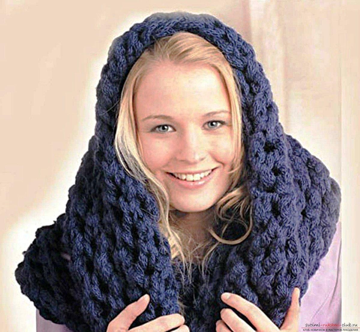 Как связать женский шарф снуд спицами для начинающих 78