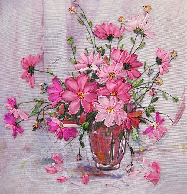 Вышивка лентами картинки цветы 55