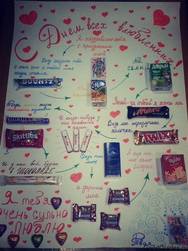 Плакат из сладостей для любимого своими