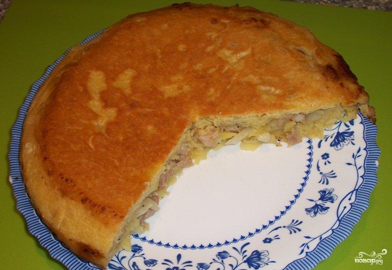 Пирог с мясом в сковороде рецепт с