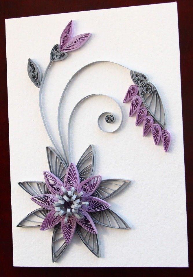 Открытки своими руками цветы квиллинг
