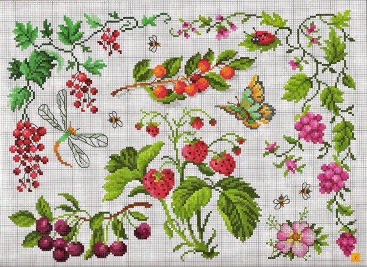 Вышивка крестиком бордюр из мелких цветочков 61