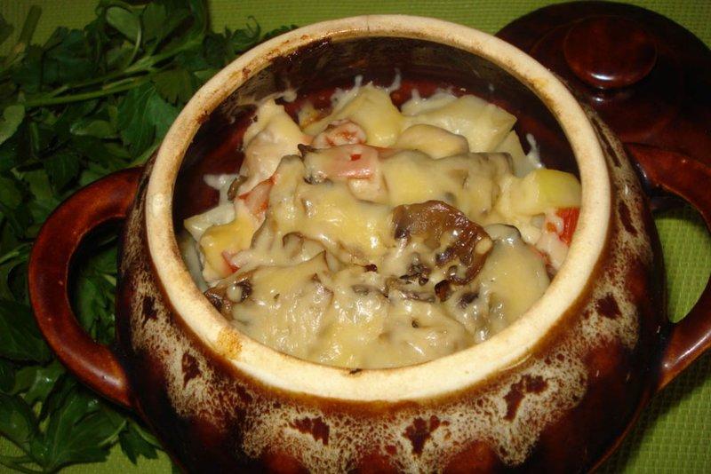 Рецепт картофеля в горшочке с мясом и грибами
