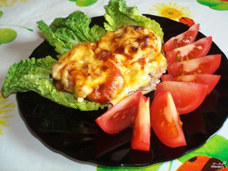 Свинина отбивная с сыром и помидорами в духовке рецепт пошагово