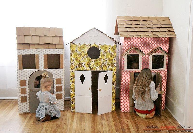 Детские домики из картонных коробок своими руками 54