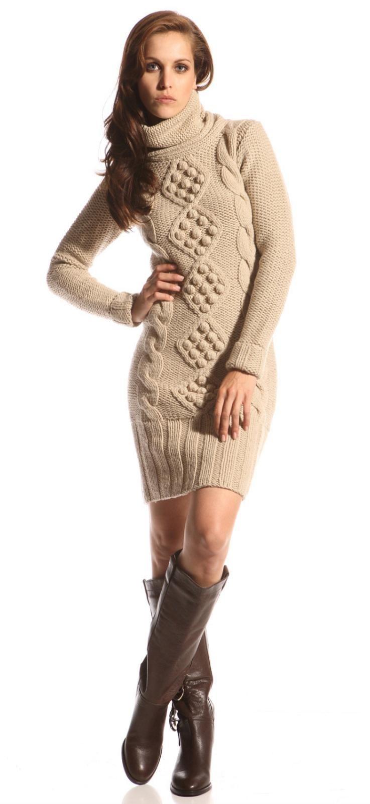 Серое вязаное платье с аранами Вязание спицами