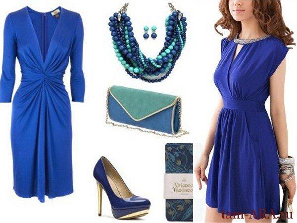 Фото аксессуары к синему платью