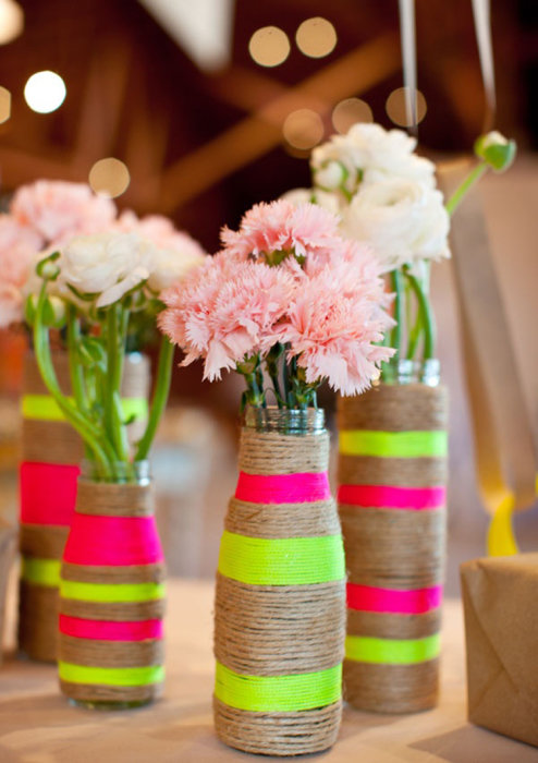 Сделать вазу своими руками для свадьбы