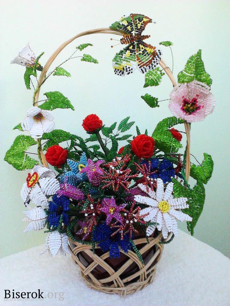 Цветочные композиции из бисера своими руками 353