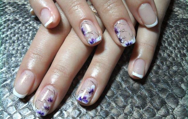Фото маникюра гель лаком с рисунком на короткие ногти французский маникюр