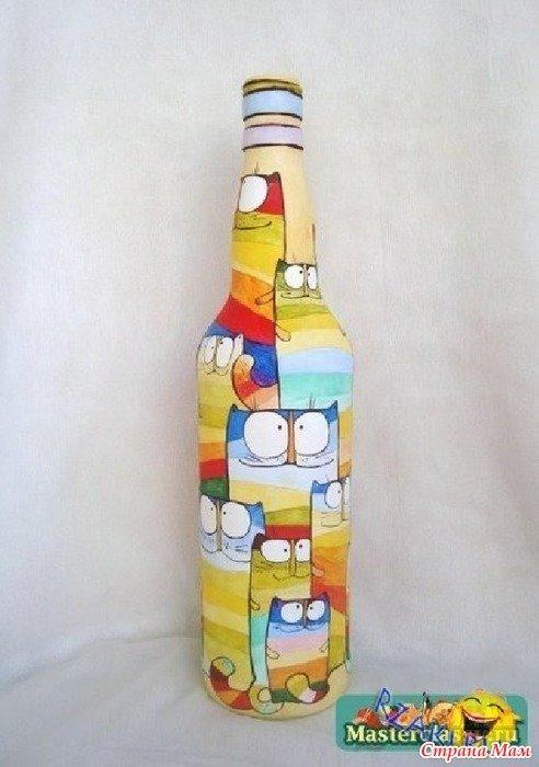 Бутылки с рисунками своими руками