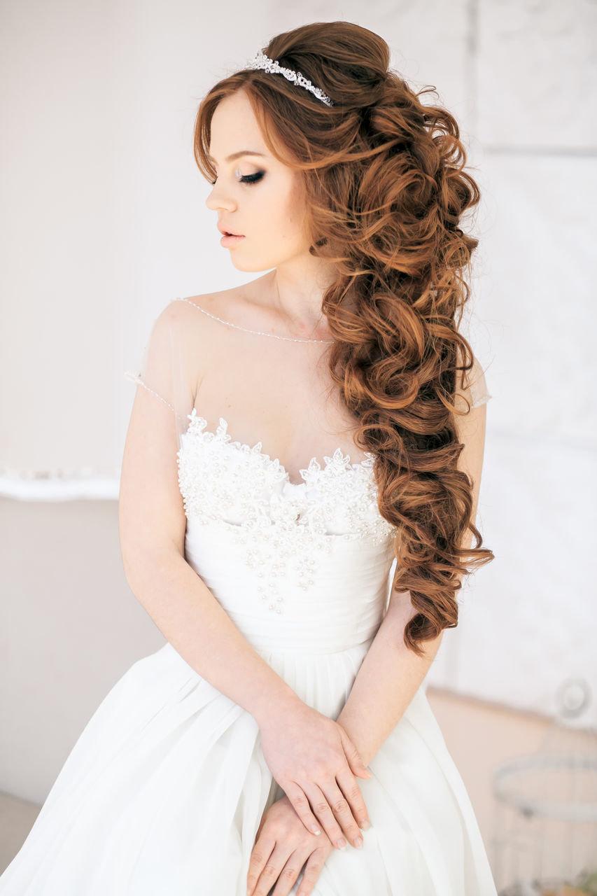 Прически свадебные на длинные волосы распущенные фото без фаты