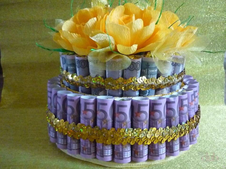 Торт из денег на свадьбу своими руками  839