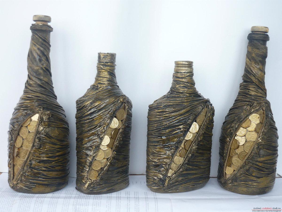 Декор бутылок монетами своими руками