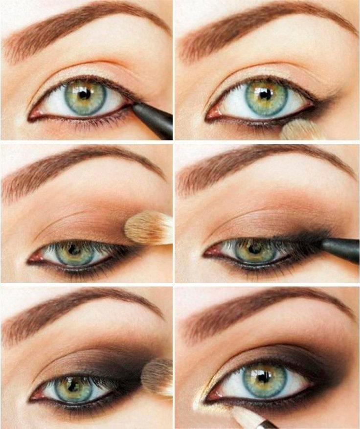 Макияж глаз коричневыми тенями